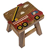 Red Fire Truck Design Hand Carved Acacia Hardwood Decorative Short Stool [並行輸入品]
