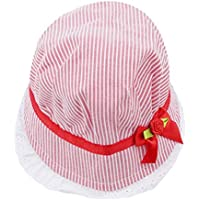 Eleusine Cute Baby Caps Lovely Lace Bowknot Summer Girl Hat Baby Striped Sun Hat Cap for Kid (Red)