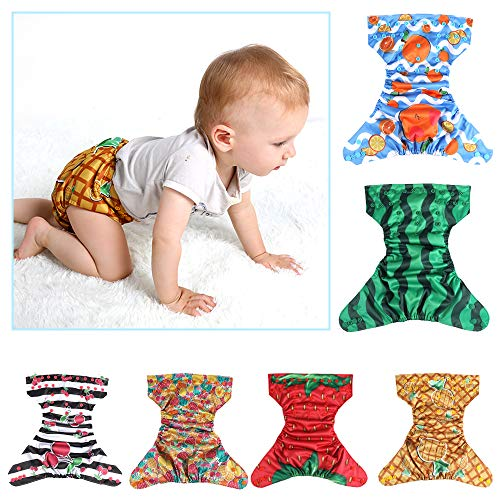 Lictin 6 Pack Baby Cloth Diapers, One Size Adjustable Washable Reusable Nappy for Baby Girls Boys, with 6 Inserts, 2 Storage Bag, Happy Fruit Design
