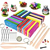 Polymer Clay, 32 Colours Oven Bake Polymer Clay, CiaraQ DIY Modelling Clay Kit with 5pcs Modeling Tools, Tutorials and Accessories, 1.73lb