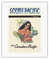 南太平洋 - カナディアンパシフィック航空で飛ぶ - ビンテージなハワイの旅行のポスター c.1960s - キャンバスアート - 41cm x 51cm キャンバスアート(ロール)