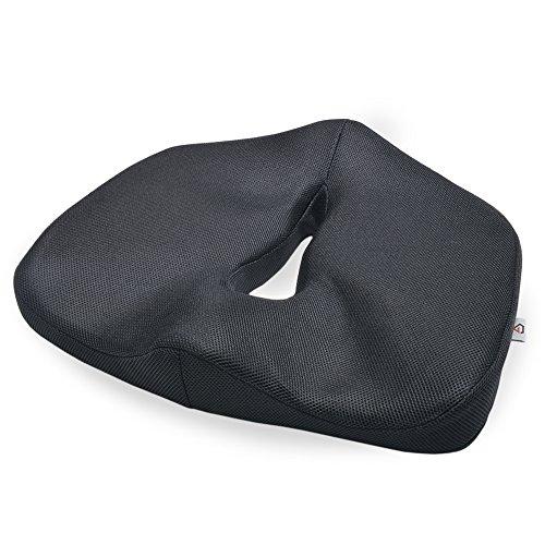 グロング 低反発 健康クッション 座布団 腰・お尻への負担を軽減 滑り止め加工付き ブラック