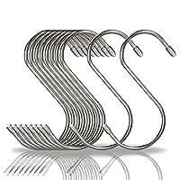 COM4SPORT S字フック 大 10個セット 汎用フック ステンレスフック 防錆 キッチン 浴室 お風呂 銀色