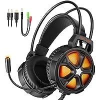 【ゲーミングヘッドセット】EasySMX COOL 2000 PS4 LEDステレオゲーミングヘッドホン 高集音性 マイク付き 3.5mm LEDライトモード切り替え ボリューム調節可能 Yスプリッタケーブル PC/Mac / New Xbox One Slim/ PS4 / スマホ/Nintendo Switchに対応 (ブラック+オレンジ)