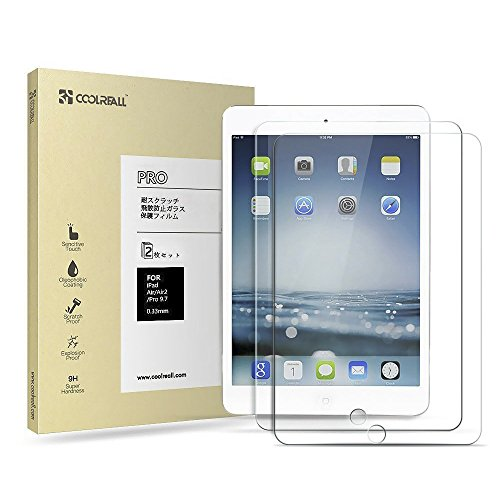 Coolreall 【2枚セット】 iPad Air/Air2/Pro9.7インチ用 液晶保護 強化ガラスフィルム 透明クリア【日本産素材 ゴリラガラス使用】