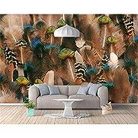 Ansyny カスタムパーソナリティ3d壁紙壁画ファッション北欧の羽の背景の壁孔雀の羽の壁紙3d-360X250CM