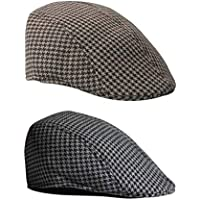 Perfeclan 2 X Boys Baseball Beret Hat Casquette Flat Peaked Children Houndstooth Cap
