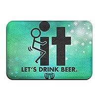 "IACC ドアマット Bathroom Rug Toilet Seat,Non-Slip Inside Outside Custom Doormat Fuck It Let's Drink Beer Kitchen 23.6"" 15.7"""