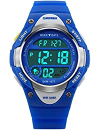 子供腕時計防水、ボーイズ 腕時計、デジタル表示子供の女の子の男の子の多機能屋外デジタルLEDアラームストップウォッチバックライト防水スポーツ時計