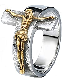 JAJAFOOK Men's Vintage Stainless Steel Jesus Cross Band Crucifix Ring,Silver Gold