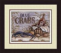 ' Fisherman 'sキャッチII ' Blue Crabs Sea Food Tripleマットフレームプリント–Kate Mcrostie 20x 23