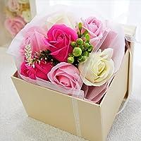 【緊急値下げ!】BIO ボックスブーケ フレグランスソープフラワー 手提げ袋・ギフトボックス付 お祝い 記念日 お見舞い プレゼント 母の日 父の日   (ピンク)