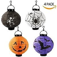 Halloween Pumpkin Lantern Hanging Paper Pumpkin Lantern Spider Bat Skeleton Lamp Light Halloween Holiday Party Decoration[4 Pack] [並行輸入品]