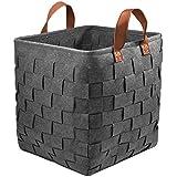 GOHOME Extra Large Storage Baskets, Felt Organizer Storage Bin for Clothes, Blankets, Towels, Sofa Throws, Toys or Nursery, L