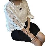 (シャンディニー) Chandeny 花柄 ブラウス レディース 半袖 フレア スリーブ 袖丈 二の腕 カバー トップス 13104 ホワイト S サイズ