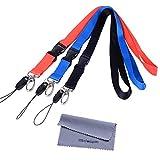 ネックストラップ Wisdompro 首かけ 平紐 ポリエステル スマホ・コンパクト・名札・USBメモリ・キー・マスコット・ホイッスル・笛用 着脱可能 カニカン、松葉紐付き 3本組 ブラック+ブルー+リッド