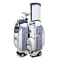 ゴルフカートバッグ、3.9 インチの増粘プーリー、取り外し可能なレインフード付き、防水 PU レザーゴルフバッグ、49.21 * 15.35 インチゴルフエアバッグ