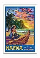 エキゾチックなハエナビーチ - カウアイハワイ - バリハイ、マカナ山 - ビンテージなハワイの旅行のポスター によって作成された リック・シャープ - アートポスター - 76cm x 112cm