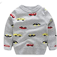 Kids Clothing Car Print Long Sleeve Pullover Autumn Winter Children Sweatshirt, Height:100cm(Grey) Boys Clothing (Color : Grey)