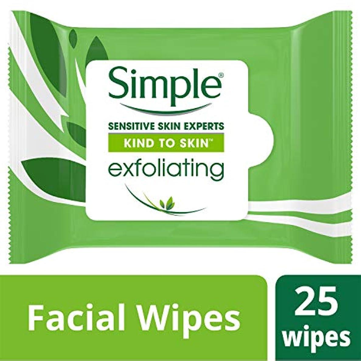 皮細い騒ぎSimple 25のCtを剥離皮膚に顔のワイプ、カインド 25カウント ワイプ、エクスフォリエイティング