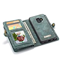 Samsung Galaxy S9 ケース スマホ カバー インチ 人気 本革 手帳型 全面 保護 マグネット 財布型 カード収納 カバー ケース スリム NEW STYLES シンプル サムスンギャラクシー S9 防塵 衝撃吸収 ダイアリー型 カバー 高級ケース (Samsung Galaxy S9, ブルー)
