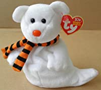 TY Beanie Babies Quivers the Ghost Bear Stuffed Animal Plush Toy - 6 inches tall - White with Orange/Black Scarf by Ty
