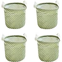 Perfk 実用的 折り畳み式 衣類 収納バケツ ランドリーバスケット オーガナイザー バッグ 収納用 グリーン 全3セット選べる - 4個