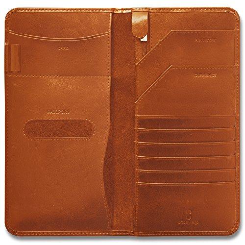 ottostyle.jp 牛革 カウレザー パスポートケース 【オレンジブラウン】大きいサイズ 財布 海外旅行 旅券 チケット 名刺入れ 大きいサイズ …