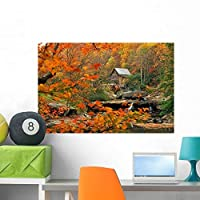 Wallmonkeys Glade Creek Grist Mill Wall Decal Peel and Stick Graphic WM37425 (36 in W x 24 in H) [並行輸入品]