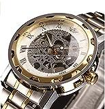 時計機械式時計 メンズウォッチクラシックスタイルのメカニカルウォッチスケルトンステンレススチールタイムレスデザインメカニカルスチームパンクリンクブレスレット付