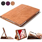 Boriyuan Ipad 4 3 2 Case, Genuine Leather Smart Cover Stand For Apple With Card Slot [Magnetic Sleep/ Wake]+Stylus+Screen Protector, Vintage Brown