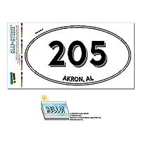 205 - アクロン, AL - アラバマ州 - 楕円形市外局番ステッカー