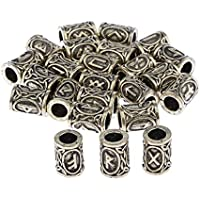 Baoblaze 24Pcs Norse Vikings Runes Hair Beard Beads for Bracelets Pendant Necklace DIY,Braiding Beads for Hair Braids Antique Silver Beard Ring Viking Beads