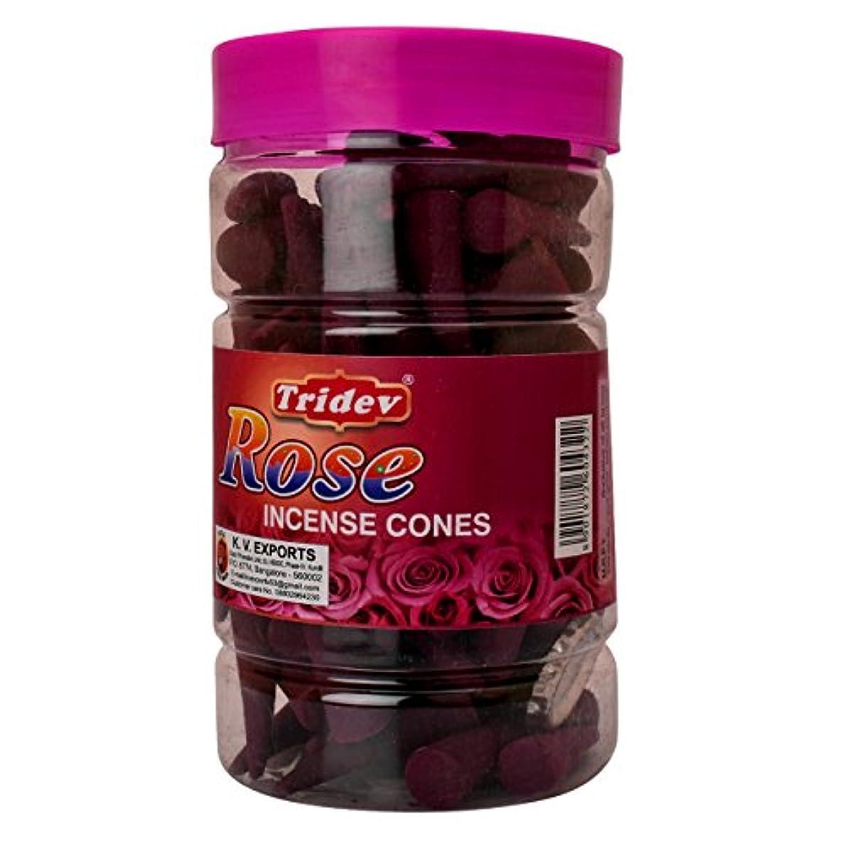 Tridev Rose Incense Cones Jar 225グラムパック