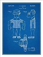"""1931Popeye人形特許印刷アートポスター額なし青写真18"""" x 24"""""""