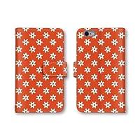 Xperia Z1 SO-01F スマホケース 手帳型 花柄 デイジー オレンジxホワイト 4番 スマホカバー かわいい おしゃれ 携帯カバー SO-01F ケース エクスぺリア