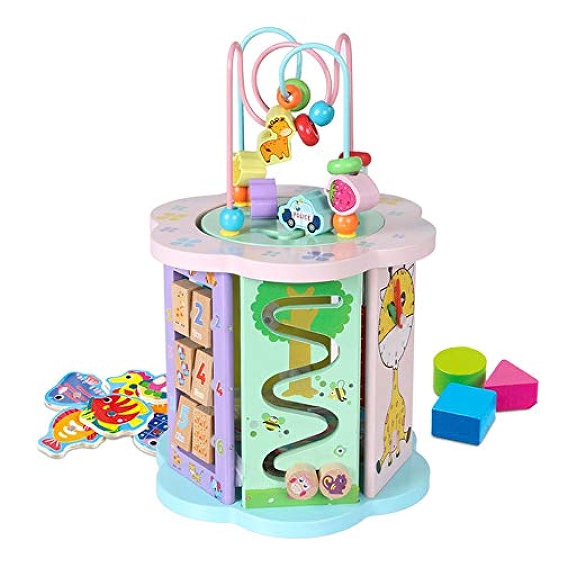 習慣真向こう麦芽ビーズコースター ルーピング パズル木のおもちゃ知的玩具赤ちゃんの早期教育六面体教育玩具、1-12男の子と女の子のためのギフトをビーズ 知育 アクティビティキューブ 子ども 知育玩具 (色 : マルチカラー, サイズ : 21x32.5cm)