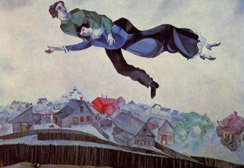 シャガール・「街の上の恋人たち」 プリキャンバス複製画・ 【ポスター仕上げ】(8号相当サイズ)