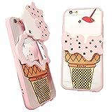 MAMiO かわいいミラー付きiPhoneケース アイスクリームをくるっと回すと鏡になっているスマホカバー 4.0インチ(iPhone 5/5S/SE)