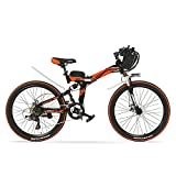 K660D強力な強力なE自転車26インチ、48V 12AH 240Wモーター、フルサスペンション高炭素鋼鉄フレーム、折りたたみ自転車、ディスクブレーキ。 (赤黒, 240W標準)