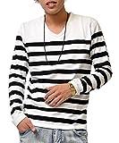 ジョーカーセレクト(JOKER Select) 長袖Tシャツ メンズ ロンT ロングTシャツ ボーダーTシャツ ボーダー Vネック おしゃれ L ホワイト/ブラック(03)