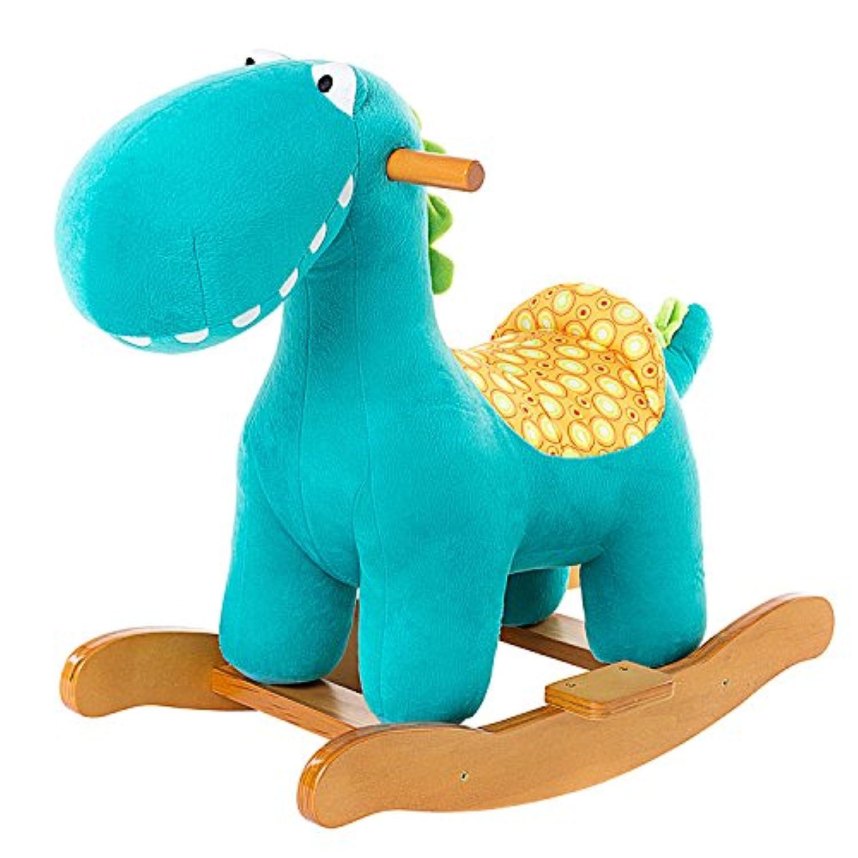 Labebe ベビー用ウッドロッキングホース 1-3歳のキッズ用木製木馬 柔らかいシート ASTM/CE安全認定 - ブルー恐竜