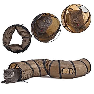 Cat Toys Interactive,PAWZ Road Collapsible Tunnel for Bunnies, Kittens, Ferrets and Small Dogs with Two peek-a-Boo Holes