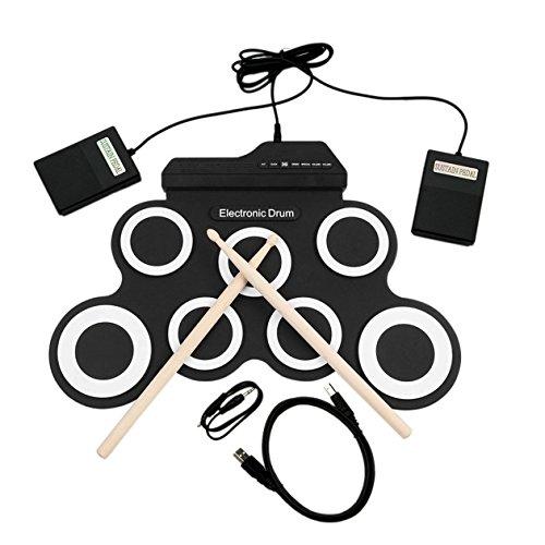 USB電子ドラム G3002 ドラムキット ドラムセット 打楽器 子供用 厚手のシリコン 折りたたみ式 ロールアップ...