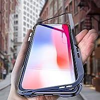 iPhone Xs ケース OURJOY iPhone X ケース iPhoneXs バンパー 航空宇宙 アルミニウム 金属フレーム 背面 透明 強化 ガラス マグネット式 磁力で接続 Qi ワイヤレス 充電対応 耐衝撃 アイフォンxケース (iPhone X/Xs, ブラック)