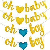 TOODOO 4 Sets Gold Glittery Letters Oh Baby and Boy Banners with Heart for Baby Shower Party Decorations [並行輸入品]