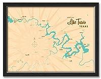 "NorthwestアートMall湖Travisテキサスマッププロフェッショナルフレーム&マットGiclee旅行アートプリントby lakebound 18""x24"" Print / 20""x26"" with Frame ブラック LB-20132 NFF-C"