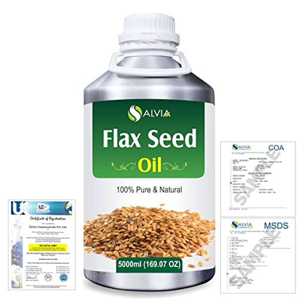 カラス平和リンケージFlax Seed (Linum usitatissimum) 100% Natural Pure Undiluted Uncut Carrier Oil 5000ml/169 fl.oz.