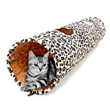 PAWZ Road ペットのおもちゃ 超長い猫のトンネル 2穴付き 豹柄 洗濯OK 直径30CM