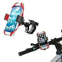 k-outdoor スマホホルダー クリップ式 自転車/バイク用 スマホスタンド iPhone Android GPS固定用 スマートフォンマウント シリコン製 多機種対応 脱落防止 超軽量 耐久性 取り付け簡単 (レッド)